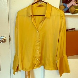 Yellow charmeuse collared shirt - pearl buttons